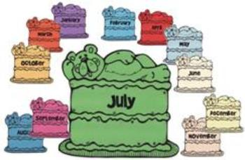 Birthday Cake display - Months of the Year