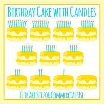 Birthday Cake with Candles 0-10 Counters / Birthday Ages Clip Art Commercial Use
