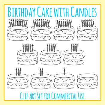 Birthday Cake with Candles Line Art for Commercial Use