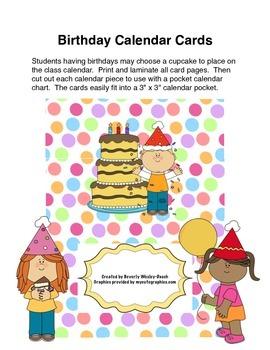 Birthday Calendar Cards