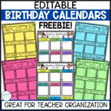 Birthday Calendar Freebie!