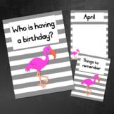 Birthday Calendar: Gray with a Flamingo