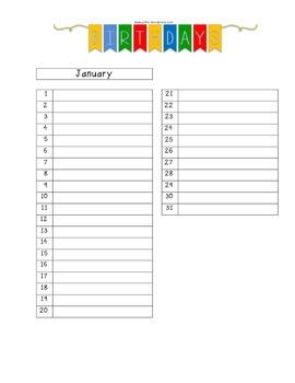 Birthday Calendar:  All 12 months