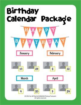 Birthday Calendar Package (Editable Dates)