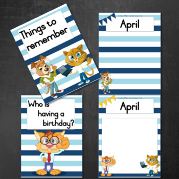 Birthday Calendar / Planner:  Cats and Dogs (Teal/Blue)