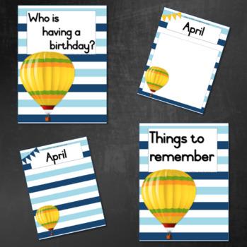 Birthday Calendar / Planner:  Hot Air Balloon (Teal/Blue)