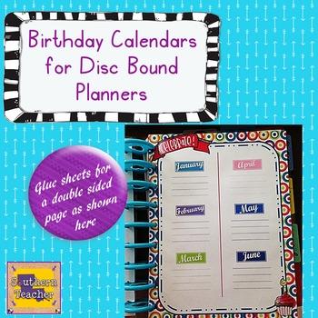 Teacher Planner/Happy Planner - Birthday Calendar