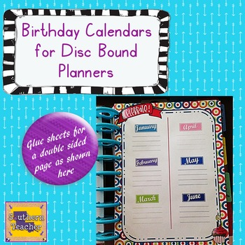 Birthday Calendar for Disc Bound Planners