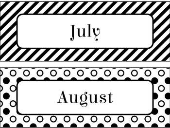 Birthday Calendar in Black and White Theme
