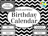 Birthday Calendar in Black and White Theme