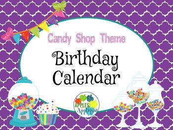 Birthday Calendar in Candy Shop Theme