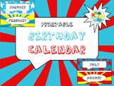 Birthday Calendar in Comic Book Theme