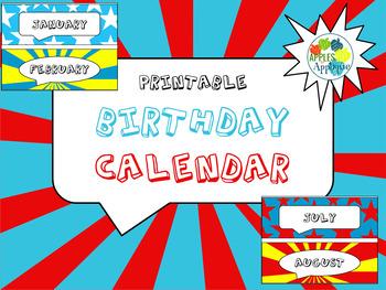 Birthday Calendar in Comic Book Theme
