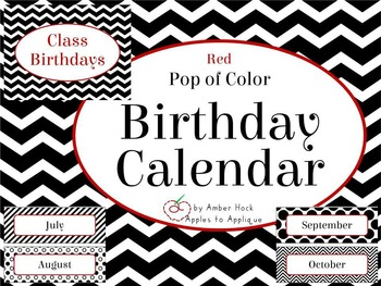 Birthday Calendar in Red Pop of Color Theme