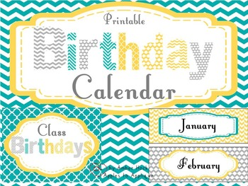 Birthday Calendar in Yellow, Teal, and Gray
