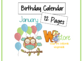 Birthday Calender with owls