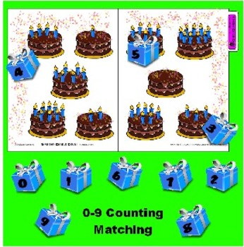 Birthday Candle Count 0 - 9 file folder game - Teach with Independent Work