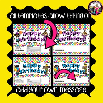 Birthday Candy Bar Wrappers! **Editable templates