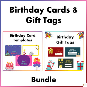 Birthday Card Templates And Gift Tags Bundle By A Plus Learning
