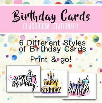 Birthday Cards Teacher Stationary