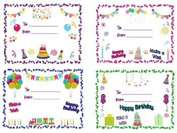 Birthday Cards and Sign for Students