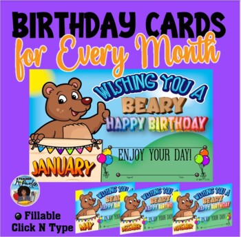 Birthday Cards for Every Month {Fillable}