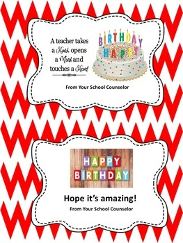 Birthday Cards for Teachers From the School Counselor-Editable