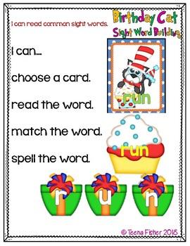 Birthday Cat Sight Word Building Primer Dolch Literacy Center
