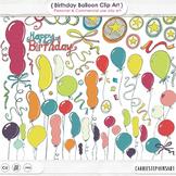 Birthday ClipArt Celebration, Balloon ClipArt, Stars, Party Confetti, Ribbons