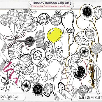 Happy Birthday Balloon Line Art,  Doodle Celebration Clip Art, Stars