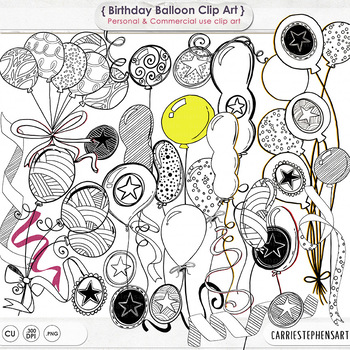 Happy Birthday Digital Stamps, Balloon Doodle Clip Art, Ce