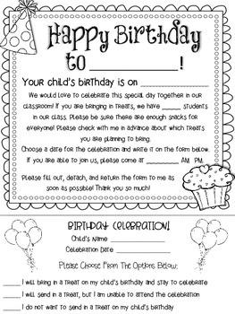 Birthday Celebration Form {Free}