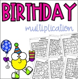 Birthday Celebration Multiplication Coloring