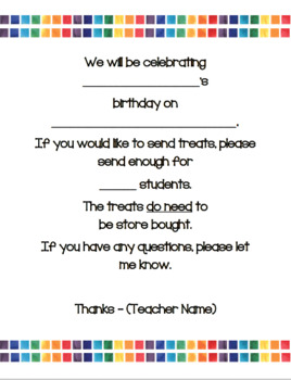 Birthday Celebration Note