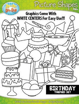 Birthday Picture Shapes Clipart {Zip-A-Dee-Doo-Dah Designs}