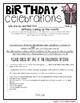Birthday Celebrations- School Birthday Letter- Alternative Options