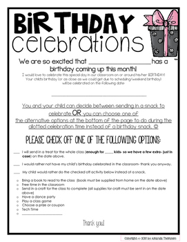 Celebration Letter | School Birthday Celebration Letter With Alternative Options Freebie