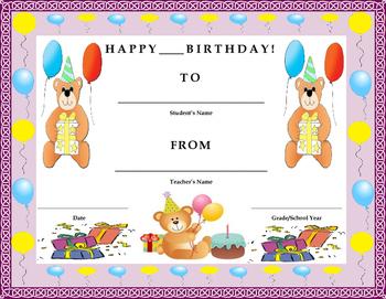 Birthday Certificate- Birthday Bear Theme- Kids Will Love It!!