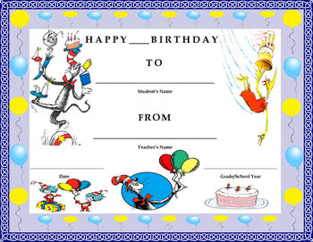 Birthday Certificate- Cat & the Hat Theme- Kids Will Love It!!