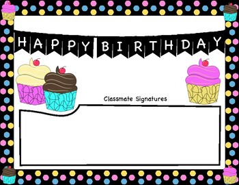 Happy Birthday Certificate, Classroom Card, and Happy Birthday Writing Journal