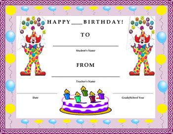 Birthday Certificate- Clown Theme- Kids Will Love It!!