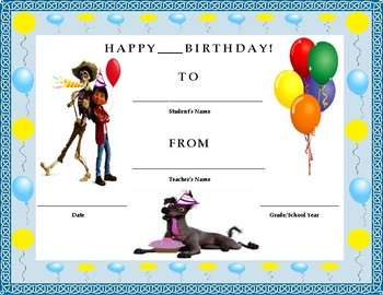 Birthday Certificate- Coco Theme- Kids Will Love It!!