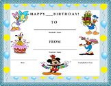 Birthday Certificate- Disney Characters Theme- Kids Will Love It!!
