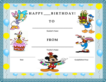 Birthday Certificate- Disney Characters Theme- Kids Will L