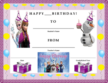 Birthday Certificate- Disney's Frozen Theme- Kids Will Love It!!