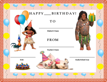 Birthday Certificate- Disney's Moana Theme- Kids Will Love It!!