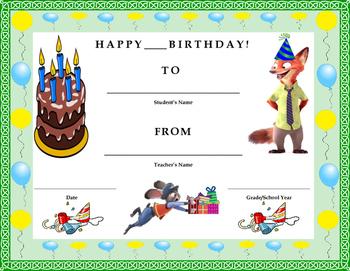 Birthday Certificate- Disney's Zootopia Theme- Kids Will Love It!!