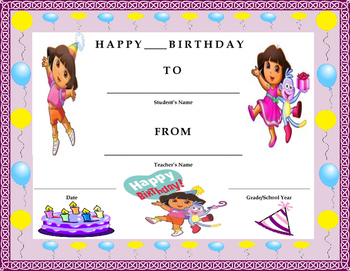 Birthday Certificate- Dora the Explorer Theme- Kids Will Love It!!