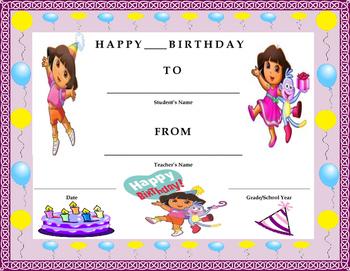 Birthday Certificate- Dora the Explorer Theme- Kids Will L
