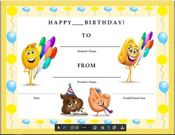 Birthday Certificate Emojis Theme Kids Will Love It